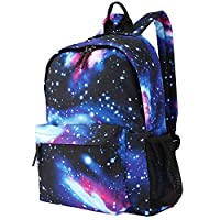 Luxspire School Backpack, Large Capacity Casual Galaxy Daypack, Space Blue