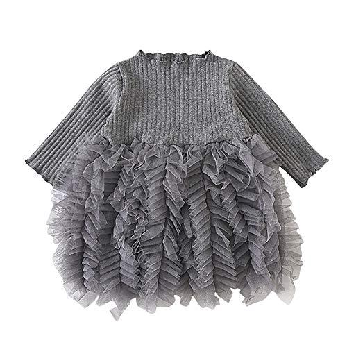 HEETEY Baby Mädchen Junge Winter Herbst Mädchen Stricken Bogen Tüll Prinzessin Tutu-Ballkleid Partykleid Kleidung Bogen Langarm Strickkleid (Prinzessin Winter Bogen)