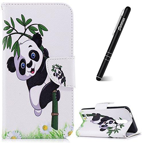 Slynmax Coque LG K10 2018,Etui LG K10 2018, Housse en PU Cuir Portefeuille Case Bumper Coque de Flip Cover de Adsorption Porte-TPU Silicone Case pour LG K10 2018 Couverture Panda Bambou