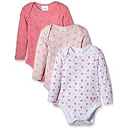 Twins Unisex Baby Langarm-Body im 3er Pack, Gr. 68, Mehrfarbig (rosé 132804)
