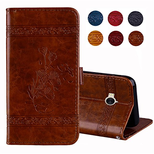 Premium Huawei Y6 2017 Leather Case Cover Wallet Folding Flip Case with Kickstand Card Slots Artificial Synthetic PU Leather Case [Shockproof Inner Shell] for Huawei Y6 2017 (Brown)