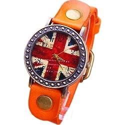 Fashion Korean British flag dial leather watch orange retro watch