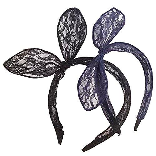 Cute LACE Kaninchen Ohren Kostüm Party Haarband Stirnband für Weihnachten Halloween Cosplay Party Farbe (Maus Kostüm Haar Minnie)