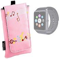 DURAGADGET Funda Acolchada Rosa Para Smartwatch Mobiper G08 / Wiseup GT08 - Diseño Con Notas Musicales - ¡Resistente Al Agua! - Alta Calidad