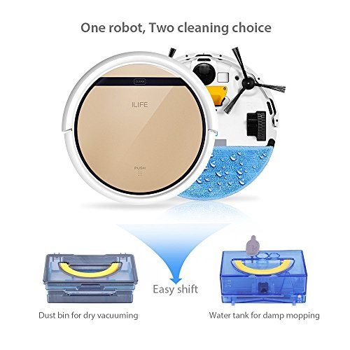 ILIFE V5s Roboter Staubsauger mit Wasserbehälter Mopping, Gold - 3