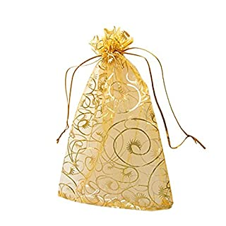 Aplus SHOP 100 PCS DIY Champagne Organza Pouch Bags Transparent Jewelry Drawstring Pouch Small Birthday Wedding Gift Bags For Children Kids Candy Chocolate Storage Bag 12x10cm