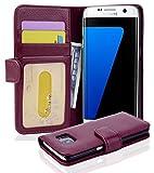 Cadorabo Hülle für Samsung Galaxy S7 Edge - Hülle in Bordeaux LILA - Handyhülle mit 3 Kartenfächern - Case Cover Schutzhülle Etui Tasche Book Klapp Style