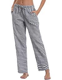 Aibrou Pantalones de Pijama Mujer Largos de 100% Algodón 017d80a8193d