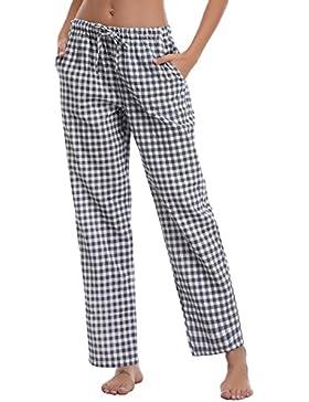 Aibrou Damen Schlafanzughose Pyjamahose Nachtwäsche Hose Baumwolle Lang Sleep Hose Pants Kariert