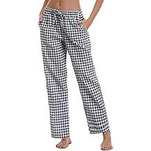 Aibrou Pantalones de Pijama Mujer Largos de 100% Algodón,Suave,Comodo y Moderno