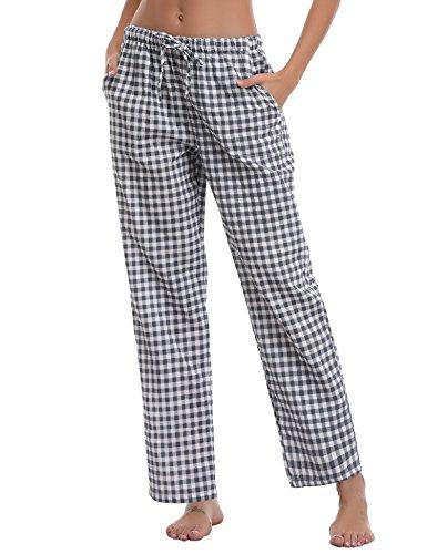 Aibrou Damen Schlafanzughose Pyjamahose Nachtwäsche Hose Baumwolle Lang Sleep Hose Pants Kariert (Blau1, Medium)
