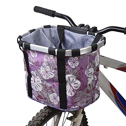Cestino da bici per animale domestico, staccabile, in tela, borsa per trasporto animali da compagnia con telaio in lega di alluminio, trasportino per cani, Purple
