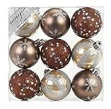 9 Stk. PVC Christbaumkugeln 6cm (beige / braun) // Ornament Dekor Kunststoff bruchfest Dekokugeln Weihnachtskugeln Baumkugeln Baumschmuck Set Christbaumschmuck Weihnachtsschmuck 60mm