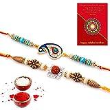 #7: Traditional Villa Jaipuri Ethnic Design Handcrafted Fancy Rakhi Pair Gift Rakhi For Bhaiya Bhabhi And Rakhi For Bhaiya Bhabhi Combo And Rakhi Gifts For Brother Rakhi Set Free Shipping+Roli+Chawal+Greeting Card !!-2Rgs278