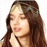 Generisches Frauen Mädchen Boho Sexy grüne Stein Quasten Stirnband Gliederkette Cuff Kopfstück