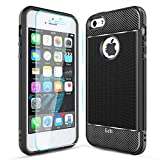 LeYi Coque iPhone 5/5S/SE avec HD Protection écran Original Case Texture Fibre de Carbone Ultra Slim Silicone Souple TPU Gel Bumper Antichoc Anti-Rayures Anti-Fingerprint Cover pour iPhone 5,Noir