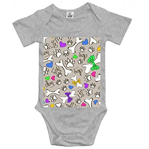 Dog's Paw Bone Babys Romper Short Sleeve Onesie Bodysuit - Short Sleeve Romper