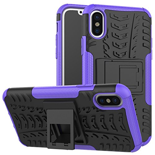 iPhone X Phone Coque DWaybox Hybrid Rugged Heavy Duty Armor Hard Back Housse Coque avec Kickstand pour Apple iPhone X 5.8 Inch (Hot PinK) Purple