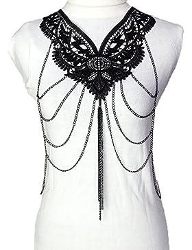 lureme® Women Sexy Mode Quaste with Spitze Blume Gestalten Schwarz Tone Body Kette Multilevel Belly Kette (01004085)