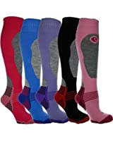5 Pairs Ladies High Performance SKI and SNOWBOARD socks, long hose thermal socks - Size UK 4-7 Special Padded for better Protection