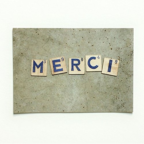 Postkarte MERCI SCRABBLE