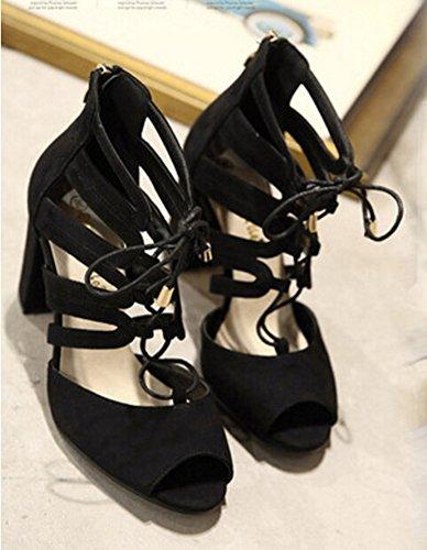 Aisun Femme Mode Lacets Croisé Talon Haut Bloc Sandales Noir