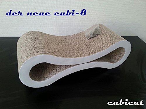 katzeninfo24.de cubicat cubi-8 Kratzbrett/ Scratcher + Catnip aus Pappe für Katzen