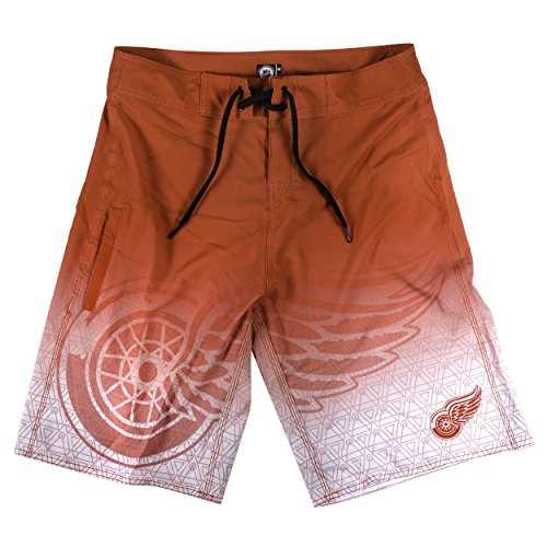 klew NHL Detroit Red Wings Farbverlauf Board Shorts, groß, Rot