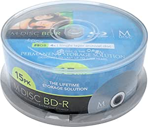 M-DISC 25GB Blu-ray Permanent Data Archival / Backup Blank Disc Media - 15 Pack Cake Box