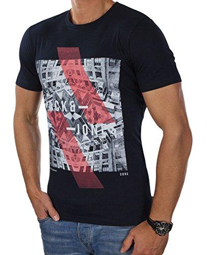 JACK & JONES Herren T-Shirt jcoEMILIO Print Rundhals Mehrfarbig Slim Fit und Oversize (XL, Blau (Sky Captain Fit:SLIM))