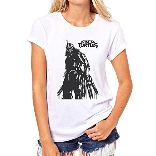 Ninja T Shirt Damen Turtles (Shredder Black And White Teenage Mutant Ninja Turtles Logo Art Movie Medium Damen)