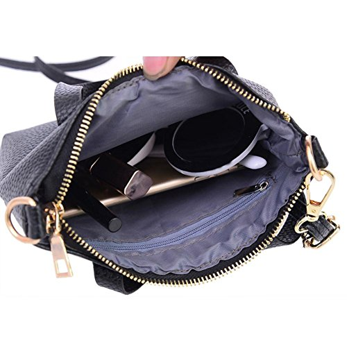 Transer Women Shoulder Bag Popular Girls Hand Bag Ladies Leather Handbag, Borsa a spalla donna Black 20cm(L)*15(H)*4cm(W) Black