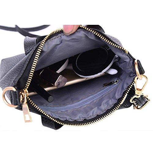 Transer Women Shoulder Bag Popular Girls Hand Bag Ladies Leather Handbag, Borsa a spalla donna Grey 20cm(L)*15(H)*4cm(W) Black