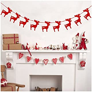 Tutoy Christmas 2017 3M Red Gold Silver Christmas Elk Banners Paper Garlands for Christmas Party Supplies - Red