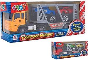 GLOBO- Trailer Truck with 2 Cars 2Asst. (38881), (1)