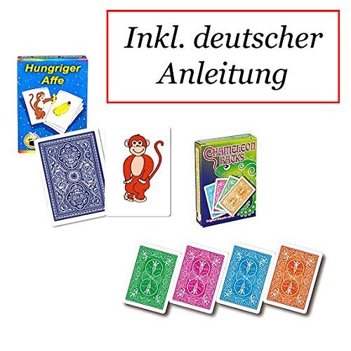Zauberkasten Hungriger Affe und Chameleon Backs - zwei Kartentricks der Extraklasse in einem Set, Deutschsprachige Anleitung inklusive