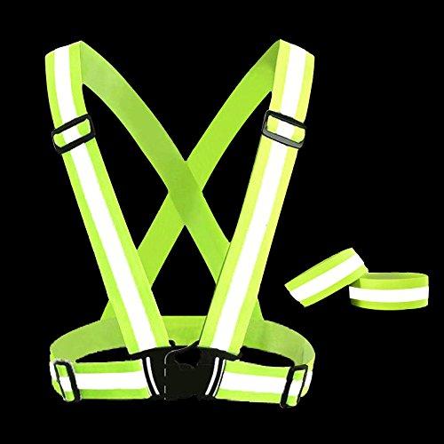 Reflektorweste Fahrrad, Reflektierende Warnweste, Gelb Reflektoren Weste mit 2 Reflektor Armband, Herren / Damen / Kinder Sicherheitsweste Schultergurt für Fahrrad fahren, Joggen, Laufen, Motorrad