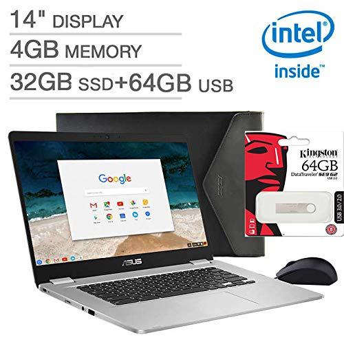 ASUS 14 Zoll FHD Chromebook Laptop, Intel Celeron N3350 Prozessor, 4 GB LPDDR4 RAM, 32 GB SSD+ 64 GB externer Speicher, Webcam, Chiclet-Tastatur, WiFi+ Bluetooth, HDMI, Chrome OS, Bonus Maus und Hülle -
