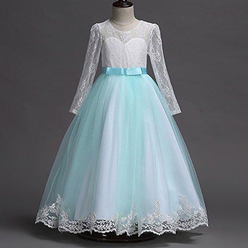 -Partei-Kleid-Blumenspitze-Hochzeits-Brautjunfer-Bowknot-Prinzessin Kleider HEVÜY ()