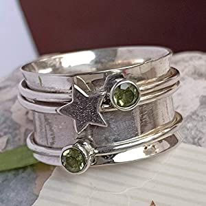 STAR Spinner Ring*Peridot Birthstone Ring*Meditation Ring* Silver* Silver Jewelry*Christmas Ring*Gift Ring Pre-engagement Ring