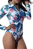 SEASUM costume da bagno tankini rashguard surfing maniche lunghe un pezzo bikini donna azzurro e bianco taglia S