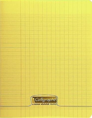 Clairefontaine 8000 POLYPRO 18294C Cahier piqué 140 pages grands carreaux couverture plastique 90 g 24 x 32 cm Jaune