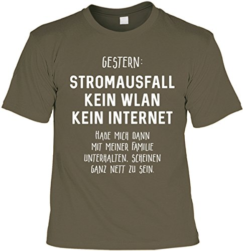Lustiges Sprüche Shirt Geschenkartikel T-Shirt mit Urkunde Gestern: Stromausfall Kein WLAN Kein Internet Fun Artikel Partygeschenk Khaki