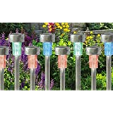 Babz 10 x COLOUR CHANGING STAINLESS STEEL SOLAR LED GARDEN LIGHTS RECHARGEABLE LAMPS