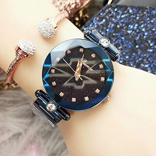WZFCSAE Damenuhr Casual Starry Face Diamond Wasserdicht Importiert Quarz Stahl Gürtel Flut Uhr Blau -