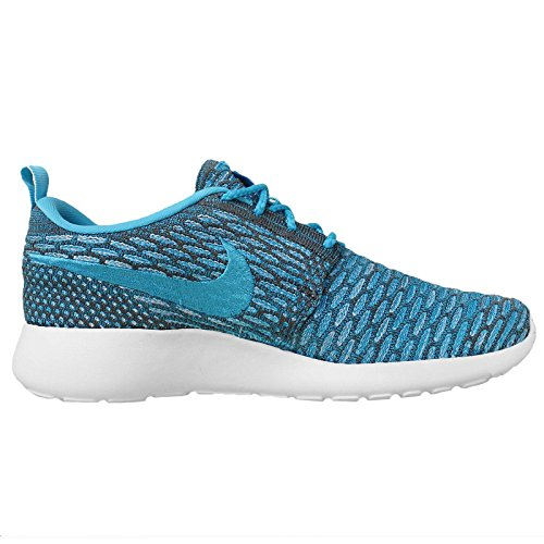 Nike - Roshe Flyknit, Scarpe da corsa Donna dark grey clear water blue legion white 003