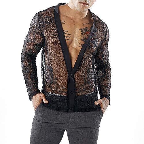 Elecenty maglieria sportiva da uomo camicia a maniche lunghe da uomo autunno in maglia camicia cardigan con scollo v profondo tops