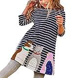 Festliche Kinderkleider Hirolan Kleinkind Baby Lange Ärmel Shirts Mädchen Sweatshirt Kinder Outifits Streifen Petticoat Tiere Drucken Stickerei Prinzessin Party Kleid Schicke Abendkleider (5T, Marine)