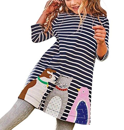 der Hirolan Kleinkind Baby Lange Ärmel Shirts Mädchen Sweatshirt Kinder Outifits Streifen Petticoat Tiere Drucken Stickerei Prinzessin Party Kleid Schicke Abendkleider (3T, Marine) (3t Tier Halloween Kostüme)