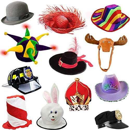 6verschiedene Dress Up Kostüm & Party Hats By Funny Party Hüte 6 Adult Costume Hats Multi Color